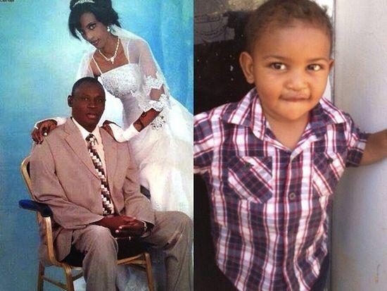 Слева: Даниэль и Мериам, свадебная фотография. Справа: их сын Мартин