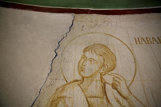 A rough sketch of the Prophet Habakkuk before being covered by a smooth layer of plaster and then painted.