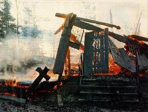 Церковь Fantoft Kirke, сожженная сатанистами группы «Burzum»
