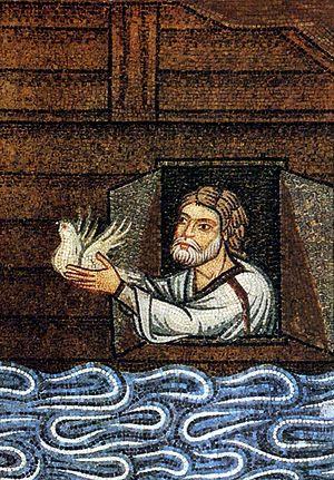Ной выпускает голубя из ковчега