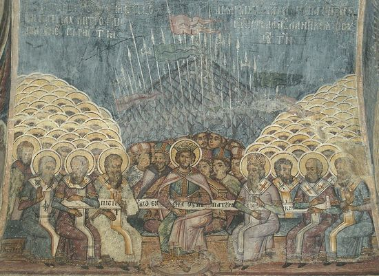 The First Ecumenical Council. Romanian fresco, 18th c.
