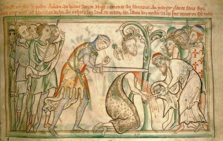A 13th-century manuscript at Trinity College Library, Dublin, shows the executioner's eyes falling out as he kills the saint