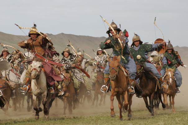 Modern reconstruction of Mongol Horde attack.