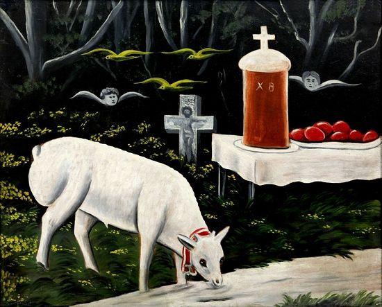 Пасхальный ягненок. Эта картина, написанная на клеенке, сейчас находится в Музее искусств Грузии.