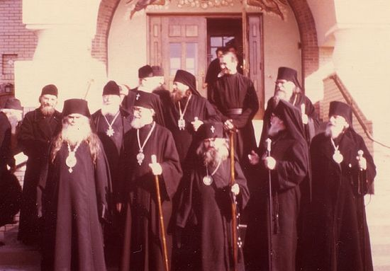 Archbishop John (center) in Holy Trinity Monastery, Jordanville, 1961.