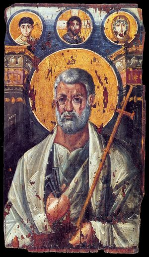 Apostle Peter. Encaustic icon, early 3rd c. St. Catherine Monastery, Sinai, Egypt.