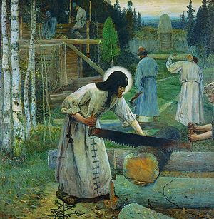 Труды преподобного Сергия. Художник: М.В. Нестеров
