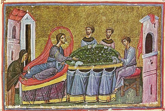 Господь в дому Симона фарисея. Миниатюра из афонского рукописного Евангелия