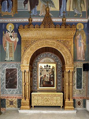 Рака с мощами прпп. Кирилла и Марии в Покровском соборе Хотькова монастыря в начале XXI в.