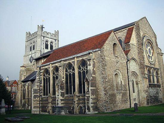 Аббатство в честь креста в Уолтеме, Эссекс (XI в.) – предположительно, место захоронения Гарольда II, последнего донорманнского короля Англии