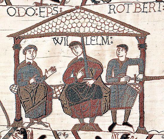 Вильгельм Завоеватель (в центре) вместе с братьями Одо и Робертом – фрагмент Гобелена из Байё