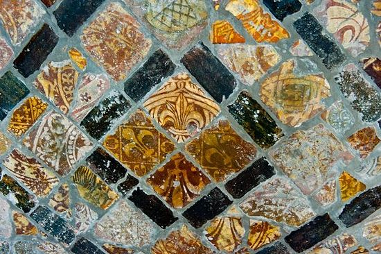 St. Peter's Church in Winchcombe, medieval tile of the ancient abbey