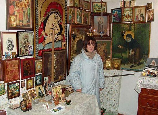 Хатуна Раквиашвили в келии схиархимандрита Виталия (Сидоренко)