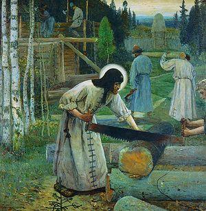 Преподобни Сергије у послу. Сликар: М.В.Нестеров