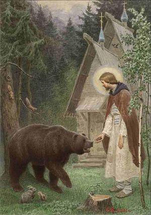 Преподобни Сергије храни медведа