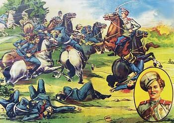 Плакат, изображающий подвиг казака Кузьмы Фирсовича Крючкова, в схватке с неприятелем уничтожившего 11 немецких улан. Крючков стал первым нижним чином, награжденным на Великой войне Георгиевским крестом (IV степени). В Гражданскую войну воевал на стороне белых. Погиб в бою в августе 1919 года (по другим сведениям, раненым был взят в плен красными и расстрелян)
