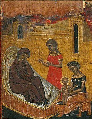Рождество святителя Николая. Фрагмент критской иконы XV века