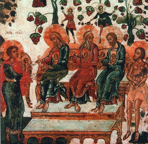 """Лоно Авраамово. Деталь иконы """"Символ веры"""" из Спасо-Преображенского собора Соловецкого монастыря, 1680-е годы"""