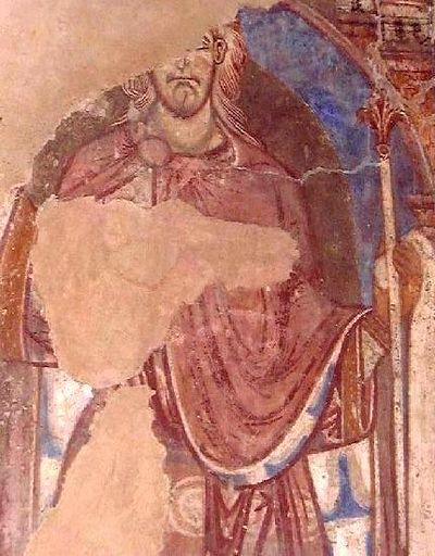 A 12th-century painting of St Oswald in Durham Cathedral
