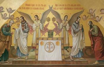 Символическое изображение вневременной небесной Евхаристии, традиционно украшающее алтари православных храмов: апостол Павел, которого не было на Тайной вечере, причащается одновременно с Петром; Христос как в Теле (хлебе), так и в Крови
