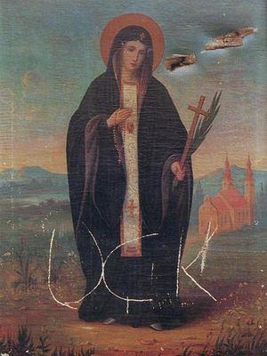 """Пулевые отверстия и надпись """"UCK"""" на иконе Пресвятой Богородицы"""