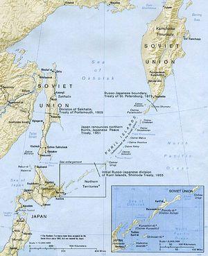 Границы между Россией и Японией в регионе Курильских островов.
