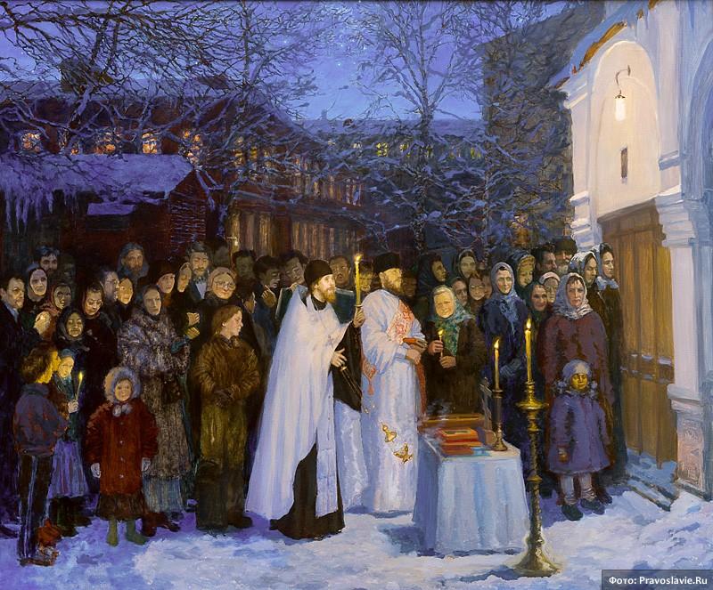 Первая служба за стенами храма. 14 февраля 1994 года. Художник: Светлана Ивлева