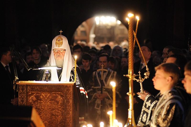 Святейший Патриарх Кирилл читает канон прп. Андрея Критского