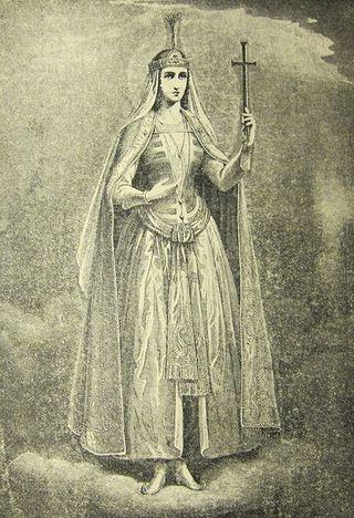 Изображение царицы Шушаник, основанное на древнегрузинских фресках. М. Сабинин, 1882 год.