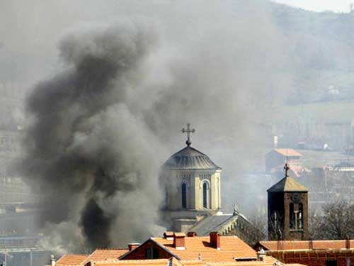 Поджог храма в Косовской Митровице