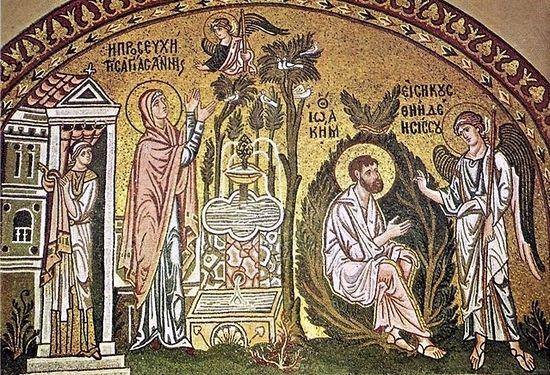 Благовещение Иоакиму и Анне. Монастырь Дафни. Афины. Церковь Успения Богоматери. XI в.