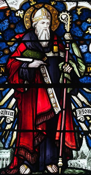 St. Ciaran of Clonmacnoise, a stained glass window.