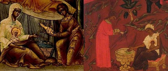 Two Nativities: the Theotokos (left) and Jesus Christ (right)