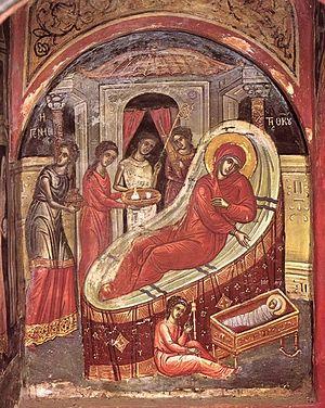Greek Icon of the Nativity of the Theotokos