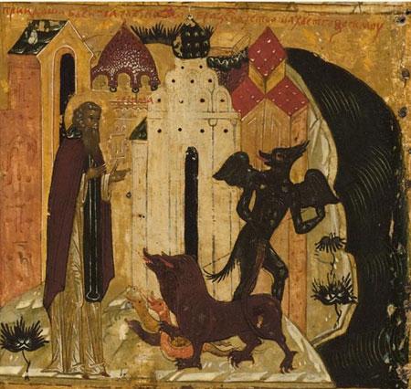 Преподобный Зосима Соловецкий изгоняет молитвами искушающих его бесов