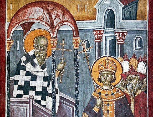 Воздвижение Честного Креста, монастырь Грачаница, XIV в.