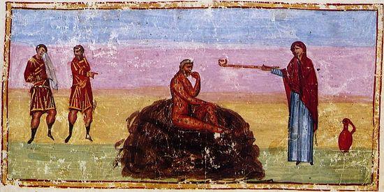 Иов на гноище. Книга Иова. Конец XI века. Монастырь св. Екатерины на Синае