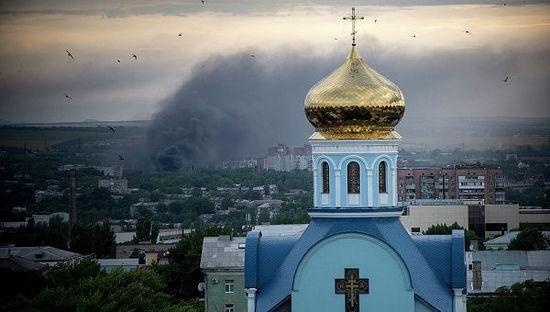 Обстрел Луганска. Вид от колокольни храма