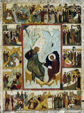 St John at Patmos. Dionysius, 15c.