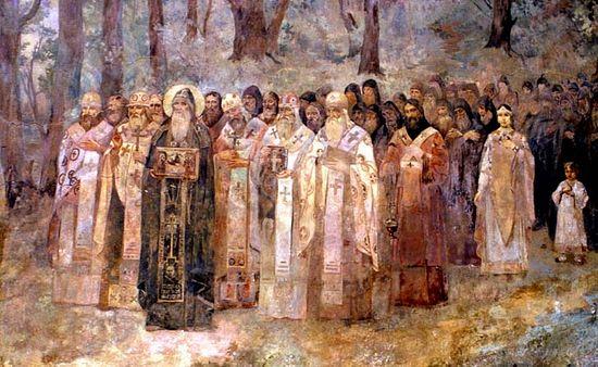 Печерские подвижники. Роспись Троицких ворот, главного входа Лавры