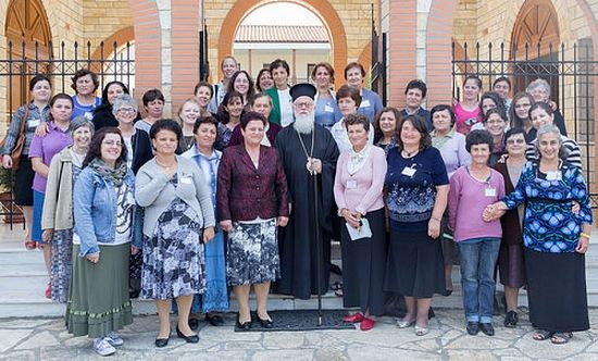 Orthodox mission team member with His Beatitude Archbishop Anastasios and Albanian women who participated in this years conference for clergy wives.