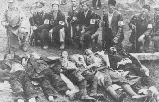 Усташи казнят заключенных в концлагере Ясеновац