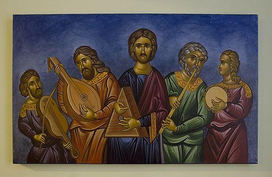 Христос и апостолы с музыкальными инструментами. Рисунок в Обществе традиционной византийской музыки