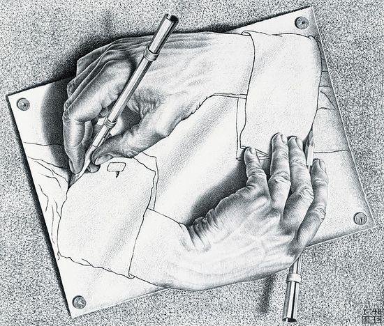 Морис Эшер. Рисующие руки. 1948