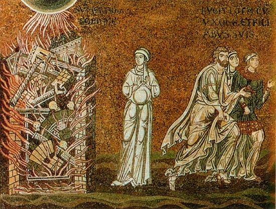 Гибель Содома. Мозаика Монреальского собора (Сицилия)