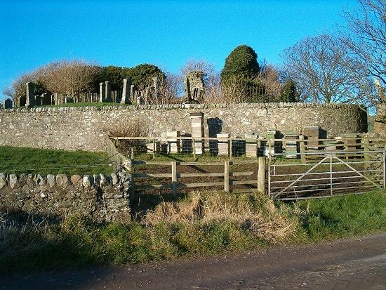 A ruinous church and Celtic 'beehive'-cells on Kintyre, Scotland