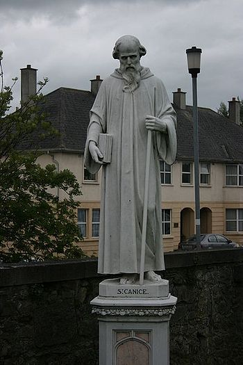 Statue of St. Kenneth at St. Mary's RC Cathedral in Kilkenny, Ireland