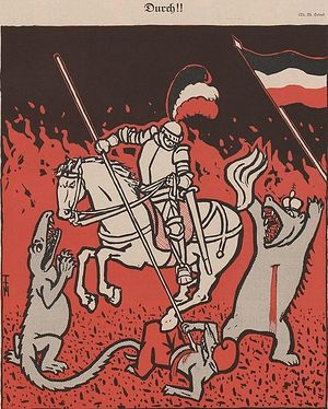 Немецкий рыцарь поражает врагов. Немецкая открытка 1914 года