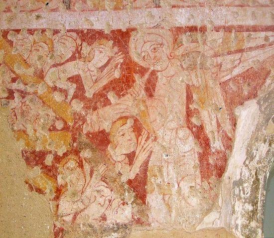 Ангел призывает мертвых восстать на Страшный Суд. Фреска храма Хоутон-он-Хилл (XI в.)