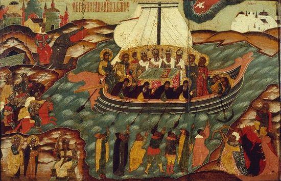 Образ гонения на церковь Божию. Оригинальная икона была написана в конце XVII, начале XVIII века